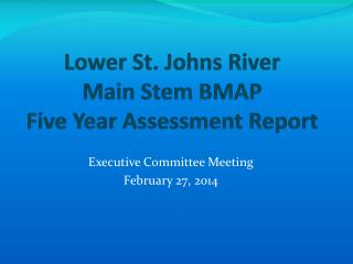 Lower St. Johns River  Main Stem BMAP  Five Year Assessment Report