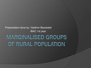 Marginalised groups of rural population