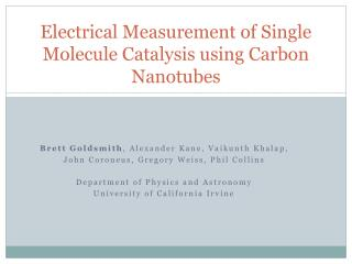 Electrical Measurement of Single Molecule Catalysis using Carbon Nanotubes