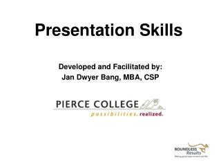 Developed and Facilitated by:  Jan Dwyer Bang, MBA, CSP
