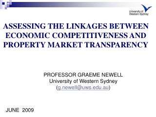 ASSESSING THE LINKAGES BETWEEN ECONOMIC COMPETITIVENESS AND PROPERTY MARKET TRANSPARENCY