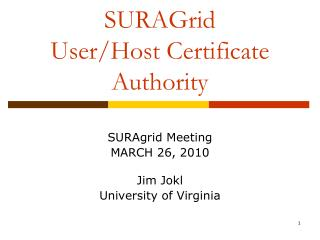 SURAGrid User/Host Certificate Authority