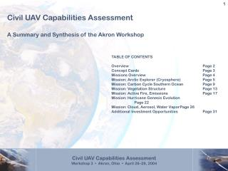 Civil UAV Capabilities Assessment A Summary and Synthesis of the Akron Workshop