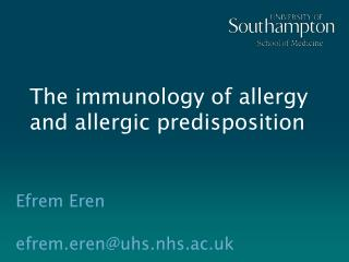 The immunology of allergy and allergic predisposition