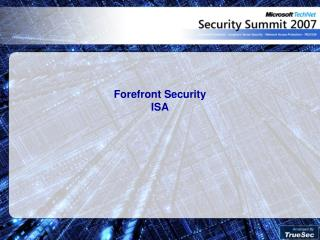 Forefront Security ISA