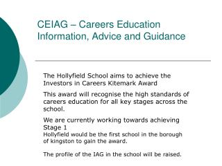 CEIAG � Careers Education Information, Advice and Guidance