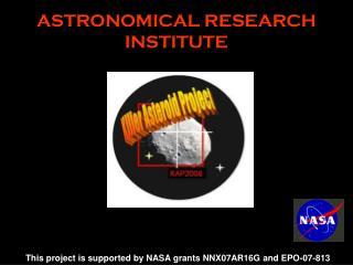 ASTRONOMICAL RESEARCH INSTITUTE