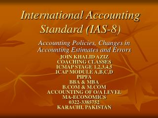 International Accounting Standard (IAS-8)
