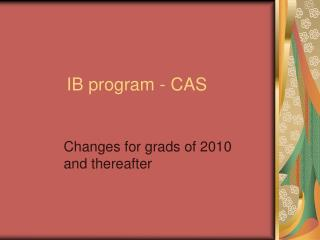 IB program - CAS