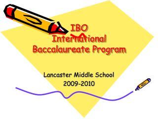 IBO International Baccalaureate Program