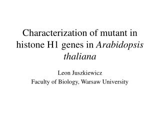 Characterization of mutant in histone H1 genes in  Arabidopsis thaliana