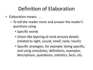 Definition of Elaboration