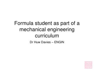 Formula student as part of a mechanical engineering curriculum