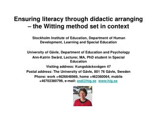 Ensuring literacy through didactic arranging – the Witting method set in context