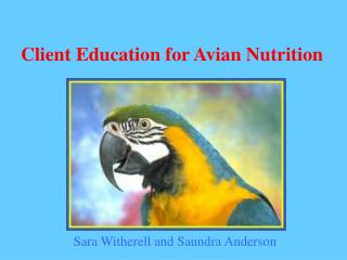 Client Education for Avian Nutrition