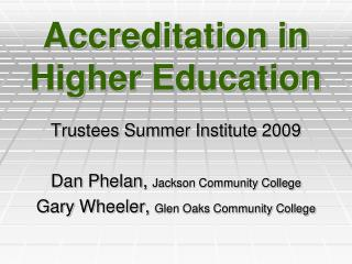 Accreditation in Higher Education