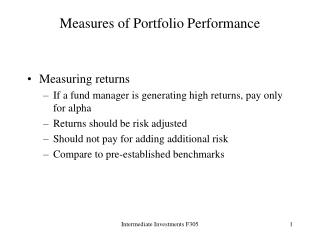 Measures of Portfolio Performance