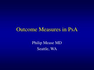 Outcome Measures in PsA