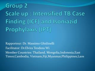 Group 2 Scale up : Intensified TB Case Finding (ICF) and  Isoniazid  Prophylaxis (IPT)