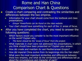 Rome and Han China  Comparison Chart & Questions