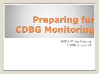 Preparing for CDBG Monitoring
