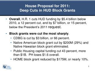 House Proposal for 2011:  Deep Cuts in HUD Block Grants