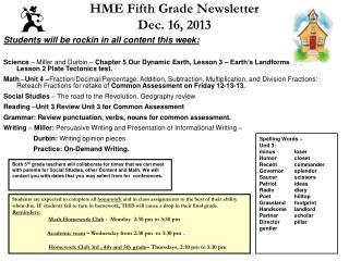 HME Fifth Grade Newsletter Dec. 16, 2013