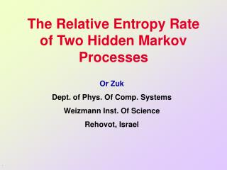 The Relative Entropy Rate of Two Hidden Markov Processes
