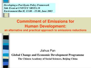 Jiahua Pan Global Change and Economic Development Programme