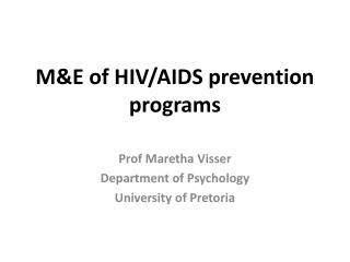 M&E of HIV/AIDS prevention programs