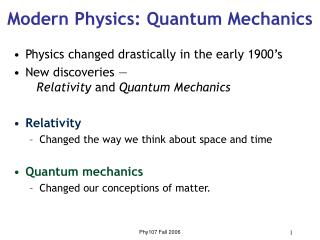 Modern Physics: Quantum Mechanics