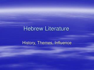 Hebrew Literature