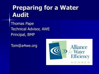 Preparing for a Water Audit