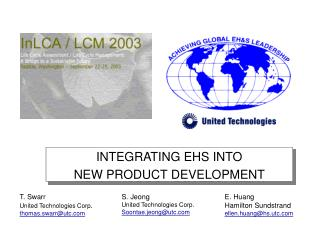 INTEGRATING EHS INTO  NEW PRODUCT DEVELOPMENT