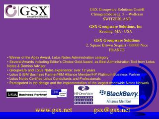 GSX Groupware Solutions, Inc Reading, MA - USA