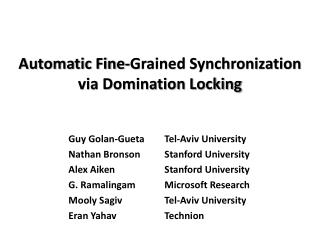 Automatic Fine-Grained Synchronization via Domination Locking