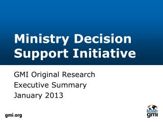 Ministry Decision Support Initiative