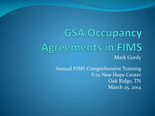 GSA Occupancy Agreements in FIMS