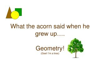 What the acorn said when he grew up…. Geometry! (Gee! I'm a tree)