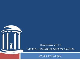 HazCom  2012 Global Harmonization System