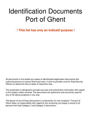 Identification Documents Port of Ghent