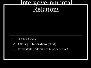Intergovernmental Relations