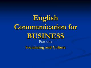 English Communication for BUSINESS