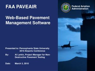 FAA PAVEAIR Web-Based Pavement Management Software