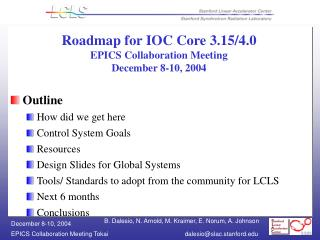 Roadmap for IOC Core 3.15/4.0 EPICS Collaboration Meeting  December 8-10, 2004