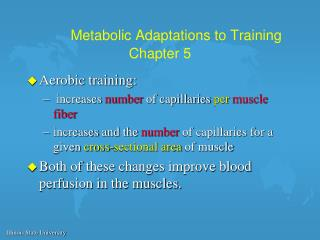 Metabolic Adaptations to Training Chapter 5