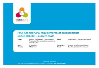 FMA Act and CPG requirements of procurements under $80,000 – current state