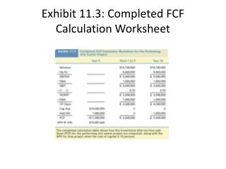 Exhibit 11.3: Completed FCF Calculation Worksheet