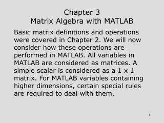 Chapter 3 Matrix Algebra with MATLAB