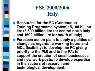 FSE 2000/2006 Italy